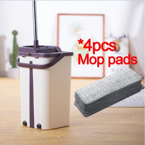 Flat Squeeze Mop and Bucket Hand Free Wringing Floor Cleaning Mop Microfiber Mop Pads Wet