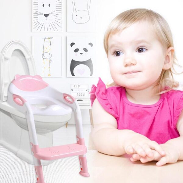 Folding Baby Potty Infant Kids Toilet Training Seat with Adjustable Ladder Portable Urinal Potty Toilet Seat 2