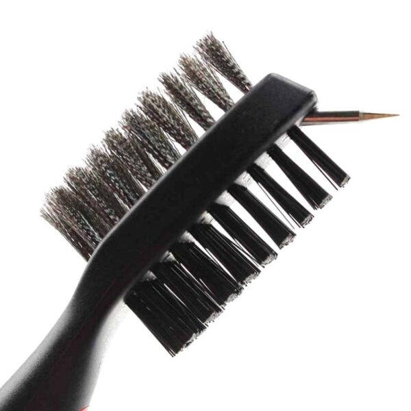Hot Sale Golf Club Cleaner Double Side Steel Nylon Brush Portable Grooves Cleaning Tool With Hook 3