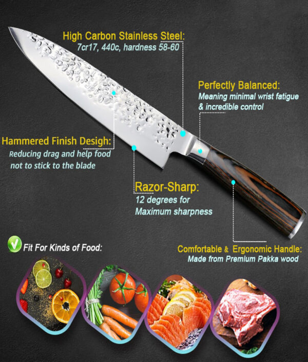 Kitchen Knife 8 inch Professional Japanese Chef Knives 7CR17 440C High Carbon Stainless Steel Meat Santoku 3 1