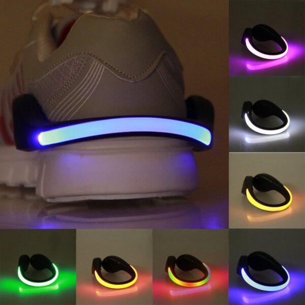 LED Luminous Shoe Clip Outdoor Bike Bicycle LED Luminous Night Running Safety Clips Cycling Sports Warning