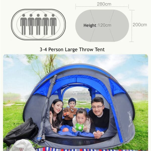 Large Space Pop Up Throw Tent Outdoor 3 4 Person Automatic Tents Waterproof Beach Tents Waterproof 5