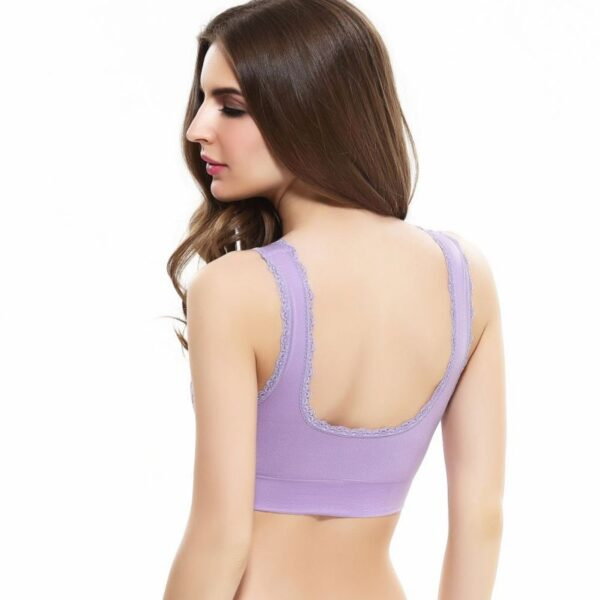 Lingerie Lace Solid Color Cross Side Buckle Without Rims Gathered Sports Underwear Sleep Bra New 4