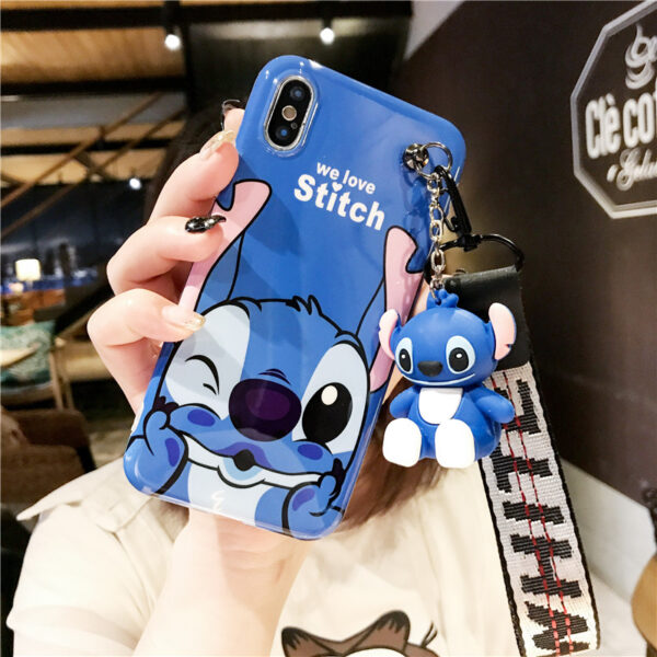 Super cute Stitch mini Pooh dinosaur lanyard tand silicone personality drop case for iphone 6 7 1