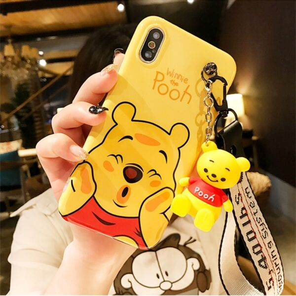 Super cute Stitch mini Pooh dinosaur lanyard tand silicone personality drop case for iphone 6 7 2