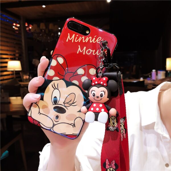Super cute Stitch mini Pooh dinosaur lanyard tand silicone personality drop case for iphone 6 7 3