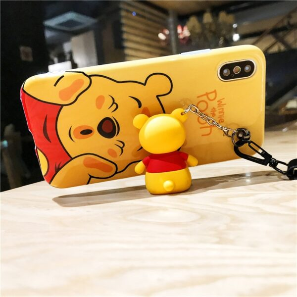 Super cute Stitch mini Pooh dinosaur lanyard tand silicone personality drop case for iphone 6 7 4