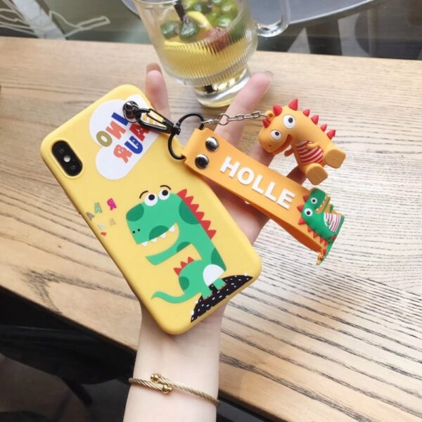 Super cute Stitch mini Pooh dinosaur lanyard tand silicone personality drop case for iphone 6 7 5