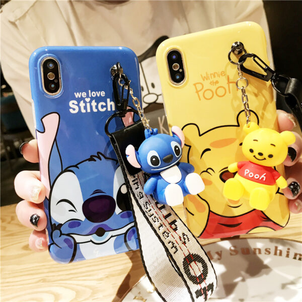 Super cute Stitch mini Pooh dinosaur lanyard tand silicone personality drop case for iphone 6 7
