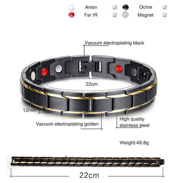 Therapeutic Energy Healing Bracelet Stainless Steel Magnetic Therapy Bracelet 1