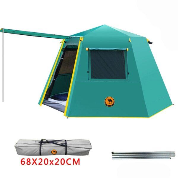 UV hexagonal aluminum pole automatic Outdoor camping wild big tent 3 4persons awning garden pergola 245 3