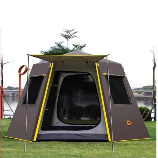 UV hexagonal aluminum pole automatic Outdoor camping wild big tent 3 4persons awning garden pergola 245