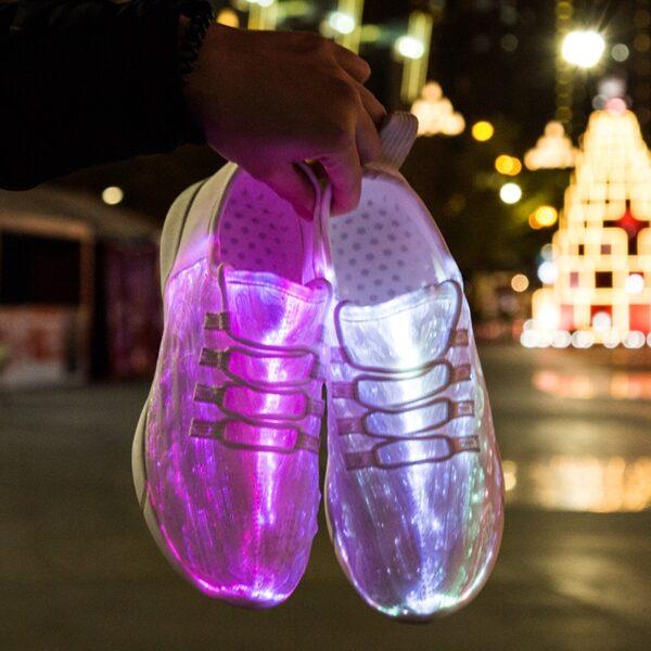 UncleJerry Size 25 46 New Summer Led Fiber Optic Shoes for girls boys men women USB 1