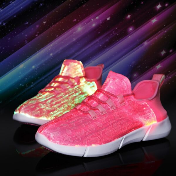 UncleJerry Size 25 46 New Summer Led Fiber Optic Shoes for girls boys men women USB 4