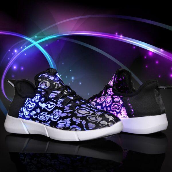 UncleJerry Size 25 46 New Summer Led Fiber Optic Shoes for girls boys men women USB 5