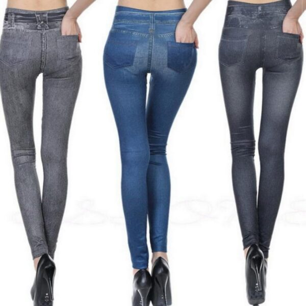WENYUJH Hot Jeans For Women Denim Pants With Pockets Pull Cashmere Body Imitation Cowboy Slim Leggings 3