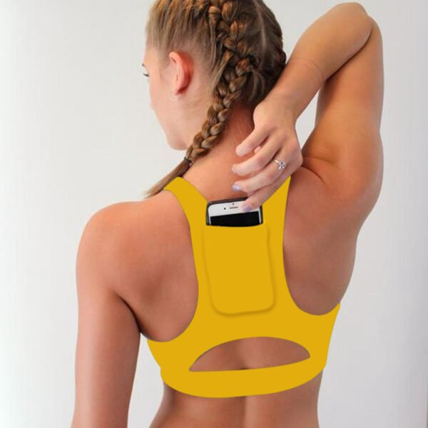 Woman s Pro Padded Compression Sports Bra Sportswear Spaghetti Strap Printed Yoga Bra Top 5