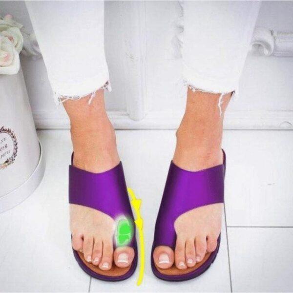 Women PU Leather Shoes Comfy Platform Flat Sole Ladies Casual Soft Big Toe Foot Correction Sandal 1.jpg 640x640 1