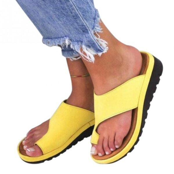 Women PU Leather Shoes Comfy Platform Flat Sole Ladies Casual Soft Big Toe Foot Correction Sandal 3.jpg 640x640 3