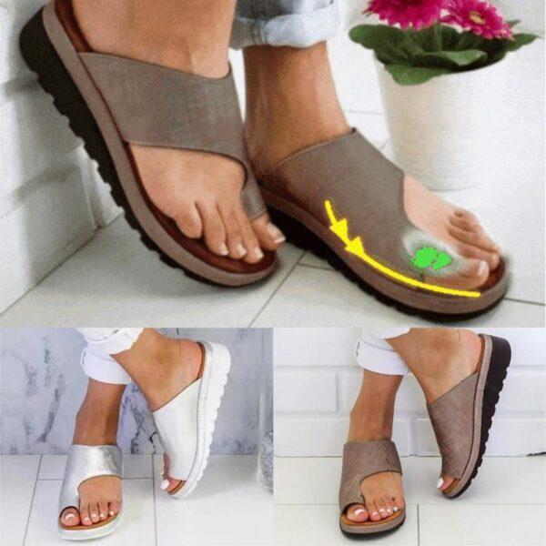Women PU Leather Shoes Comfy Platform Flat Sole Ladies Casual Soft Big Toe Foot Correction Sandal 4