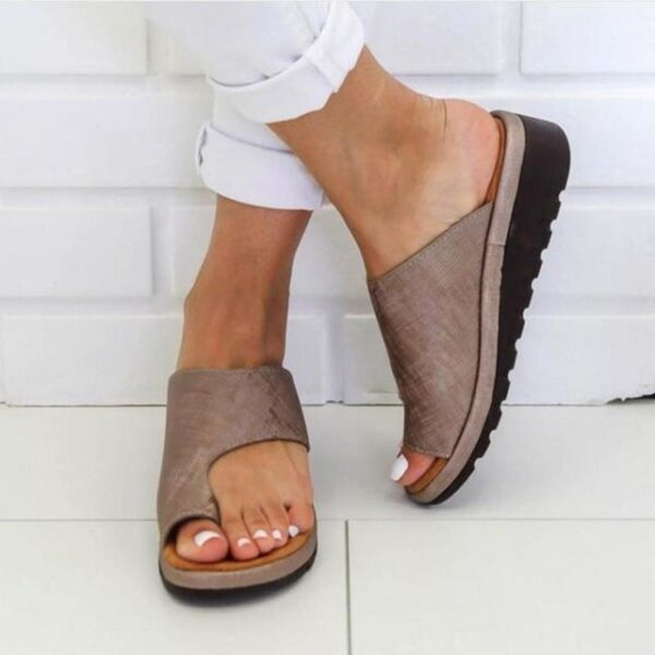 Women PU Leather Shoes Comfy Platform Flat Sole Ladies Casual Soft Big Toe Foot Correction Sandal 4.jpg 640x640 4