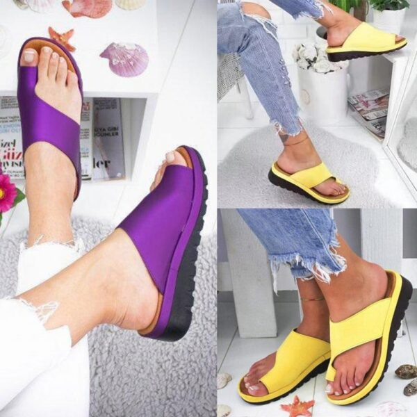 Women PU Leather Shoes Comfy Platform Flat Sole Ladies Casual Soft Big Toe Foot Correction Sandal 5