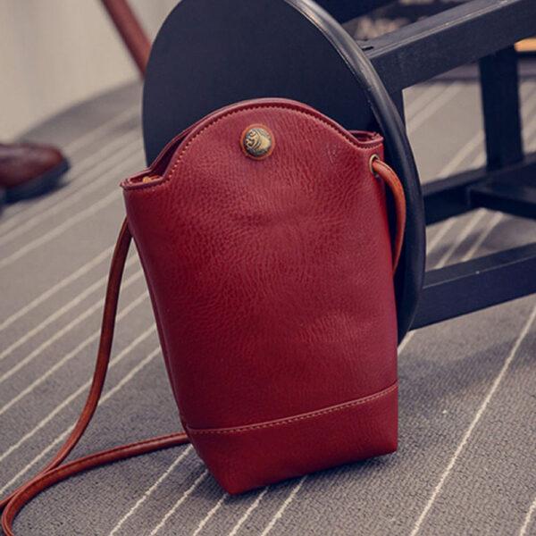 Women Vintage Messenger Zero Purse Bag PU Leather Small Magnetic Buck Slim Crossbody Shoulder Handbag Small 3 1