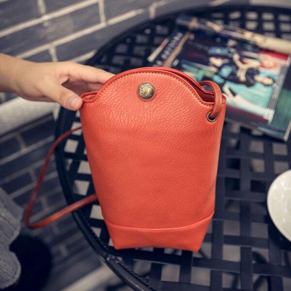 Women Vintage Messenger Zero Purse Bag PU Leather Small Magnetic Buck Slim Crossbody Shoulder Handbag Small 4 1