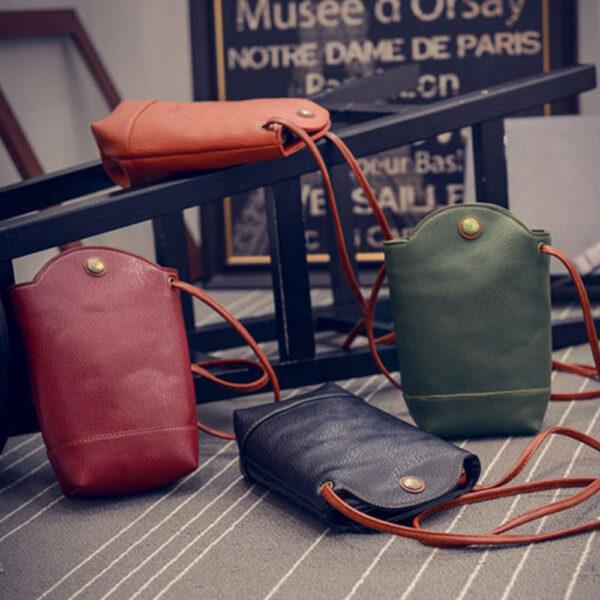 Women Vintage Messenger Zero Purse Bag PU Leather Small Magnetic Buck Slim Crossbody Shoulder Handbag Small 6