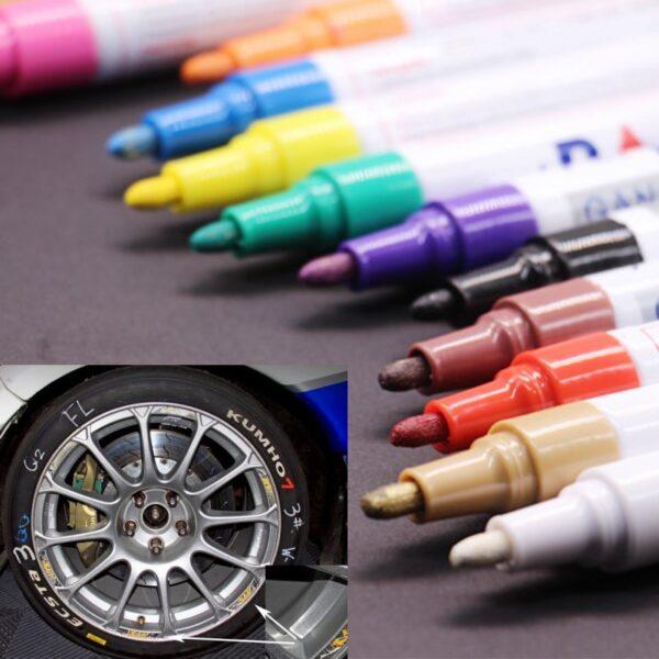 colorful Waterproof pen Car Tyre Tire Tread CD Metal Permanent Paint markers Graffiti Oily Marker Pen