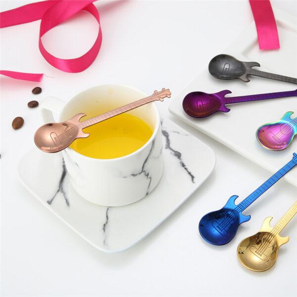 1Pcs Stainless Steel Cartoon guitar Spoon Creative Milk Coffee Spoon Ice Cream Candy Teaspoon accessories 1