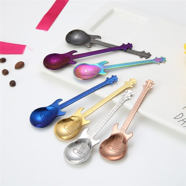 1Pcs Stainless Steel Cartoon guitar Spoon Creative Milk Coffee Spoon Ice Cream Candy Teaspoon accessories 3