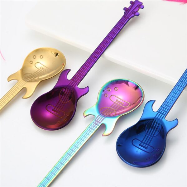 1Pcs Stainless Steel Cartoon guitar Spoon Creative Milk Coffee Spoon Ice Cream Candy Teaspoon accessories 4