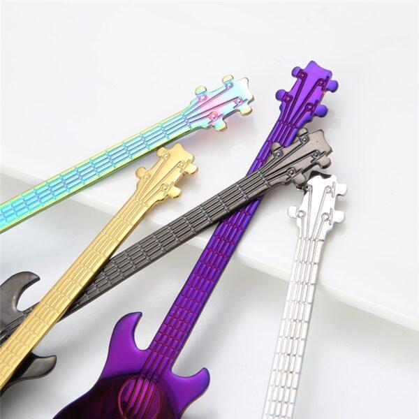 1Pcs Stainless Steel Cartoon guitar Spoon Creative Milk Coffee Spoon Ice Cream Candy Teaspoon accessories 5