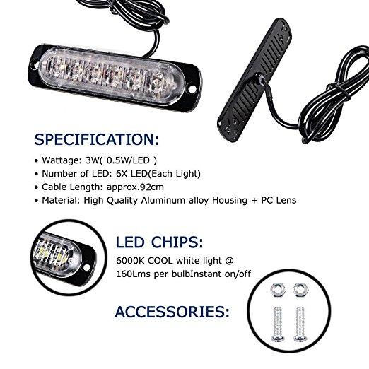1pc 12 24V 6 LED Car Truck Emergency Warning LED Strobe Flash Light Hazard Flashing Lamp 4