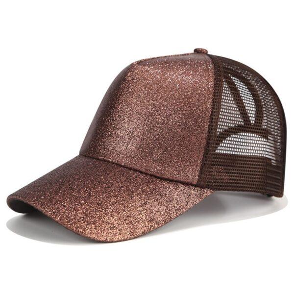 2018 Glitter Ponytail Baseball Cap Women Snapback Dad Hat Mesh Trucker Caps Messy Bun Summer Hat 1