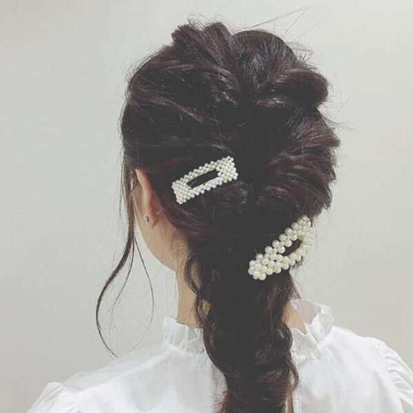 2019 New Fashion Women Pearl Hair Clip Snap Hair Barrette Stick Hairpin Hair Styling Accessories For 1