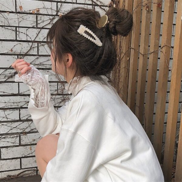 2019 New Fashion Women Pearl Hair Clip Snap Hair Barrette Stick Hairpin Hair Styling Accessories For 2