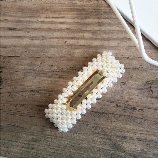2019 New Fashion Women Pearl Hair Clip Snap Hair Barrette Stick Hairpin Hair Styling Accessories For 4