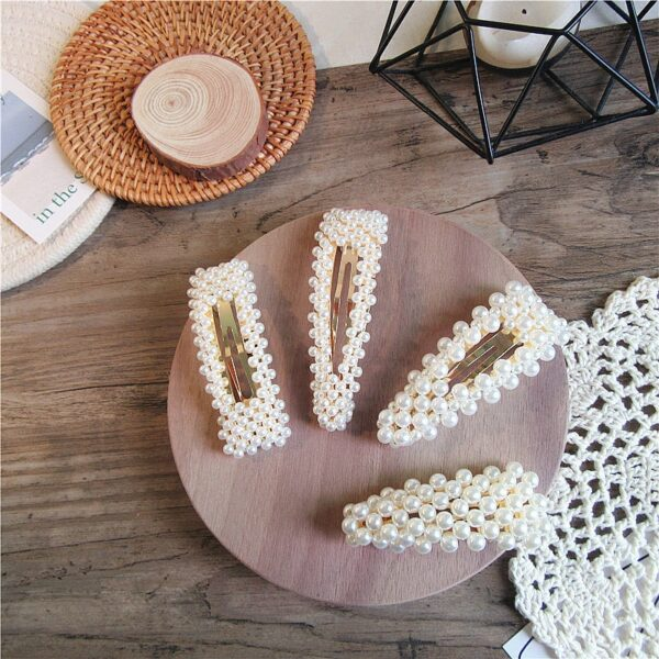 2019 New Fashion Women Pearl Hair Clip Snap Hair Barrette Stick Hairpin Hair Styling Accessories For