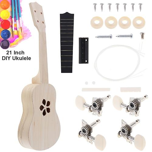 21 Inch Ukulele DIY Kit Basswood Soprano Hawaii Guitar Handwork Painting Ukelele for Parents child