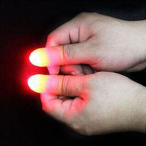 2pcs Thumbs Led Light up Toys Kids Magic Trick Props Funny Flashing Fingers Fantastic Glow Toys 2