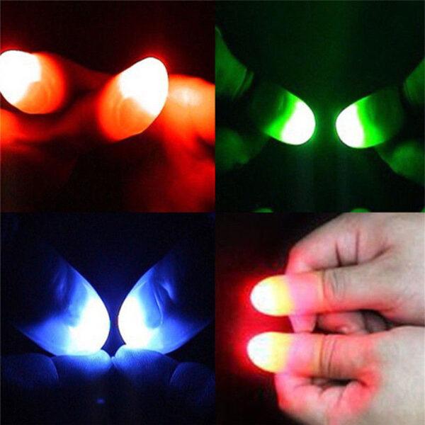 2pcs Thumbs Led Light up Toys Kids Magic Trick Props Funny Flashing Fingers Fantastic Glow Toys 5