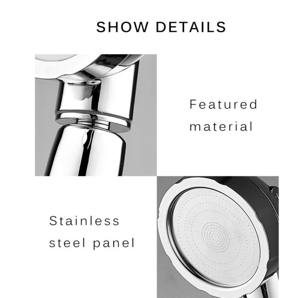 360 Degrees Rotating Shower Head Adjustable Water Saving Shower Head 3 Mode Shower Water Pressure Shower 1