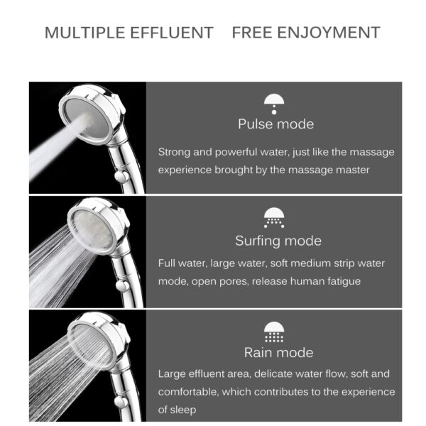 360 Degrees Rotating Shower Head Adjustable Water Saving Shower Head 3 Mode Shower Water Pressure Shower 2