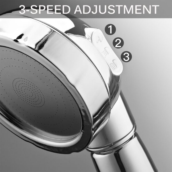 360 Degrees Rotating Shower Head Adjustable Water Saving Shower Head 3 Mode Shower Water Pressure Shower 5