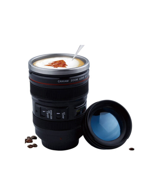 Self Stirring Camera Lens Coffee Mug, Self Stirring Camera Lens Coffee Mug