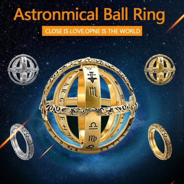 Astronomical Sphere Ball Ring Cosmic Finger Ring Couple Lover Jewelry Gifts TC21 1
