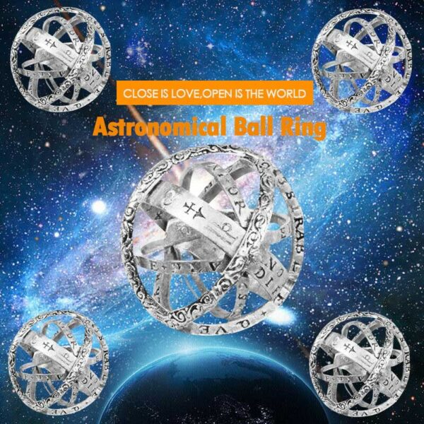 Astronomical Sphere Ball Ring Cosmic Finger Ring Couple Lover Jewelry Gifts TC21 2