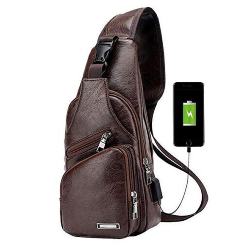 USB Leather Crossbody Bag, USB Leather Crossbody Bag